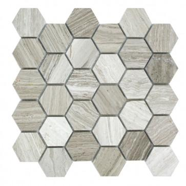 Teakwood Hexagon Mosaic