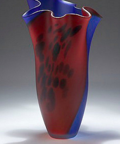 RED AND BLUE ART GLASS