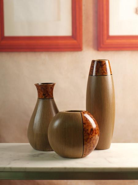 Elegant Expressions Set of 3 Burlwood Vases