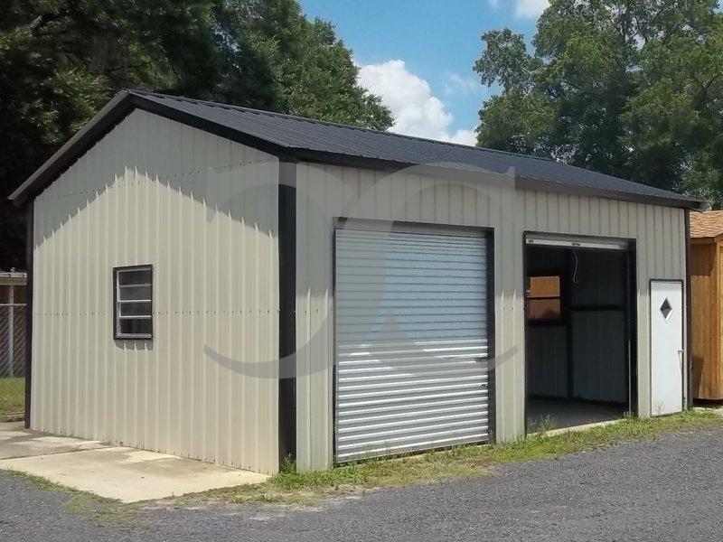 Side Entry Vertical Roof Steel Garage