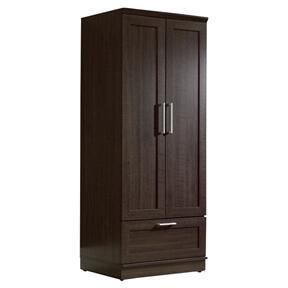 Dark Brown Wood Wardrobe Cabinet Armoire with Garment Rod
