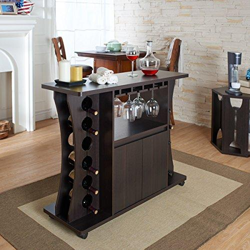 Tiko Modern Espresso Buffet with Wine Rack: Furniture & Decor
