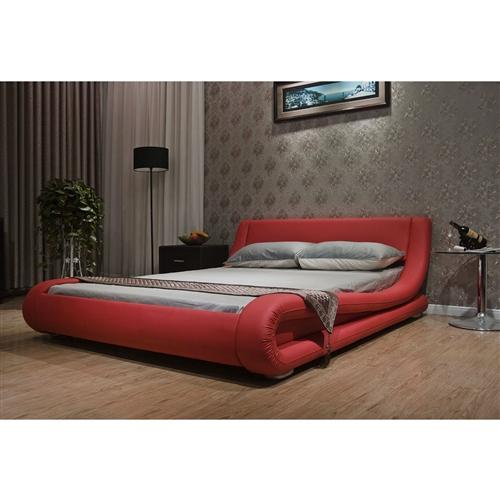 King size Modern Red Faux Leather Upholstered Platform Bed with Curved Headboard