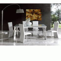 Coco Dining Room Set in White Leather Finish By Dupen, Made in Spain