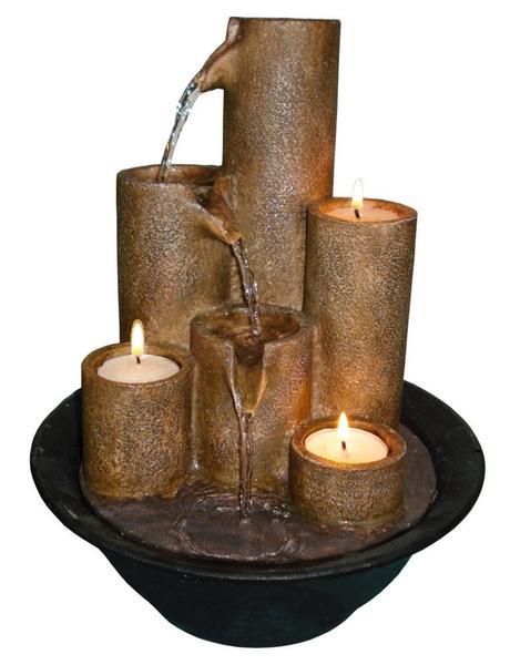 Alpine WCT202 Tiered Column Tabletop Fountain with 3-Candles : Tabletop Garden Fountains : Patio, Lawn & Garden