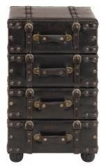 Nostalgic Leather Upholstered Hall Chest Cabinet