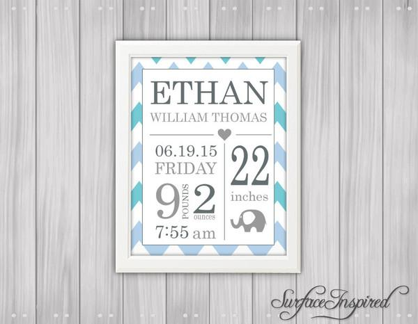 Personalized nursery wall art with elephant Birth Announcement Wall Ar | Surface Inspired Wall Decals