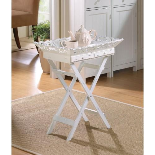 A Stylish Tray Table With Elegantly Aged White Finish