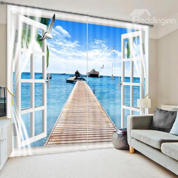 Fascinating Scenery of the Sea out of the Window 3D Curtain - beddinginn.com