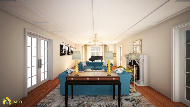 Architectural 3D Rendering NYC : Elegant living Room Design