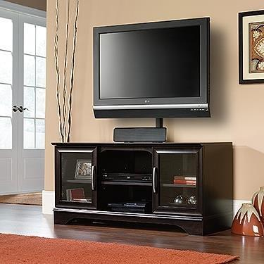 Sauder Panel LED TV Stand with Post Mount Estate, Black
