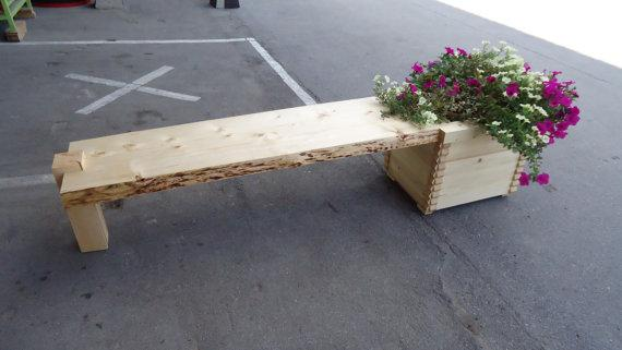 Live edge bench with planter