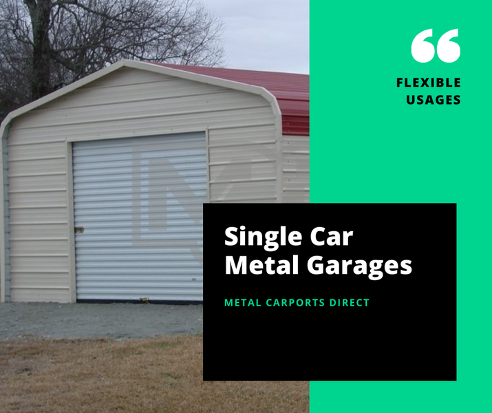 Single Car Metal Garage | Metal Carports Direct | 12W x 21L x 8H | Single Car Garage