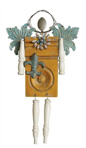 Wood Angel with Fleur De Lis - Sale/Closeout | Brava Home Decor