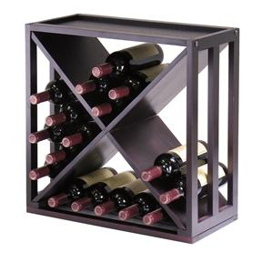 24-Bottle Modern Wine Rack Modular and Stackable in Espresso