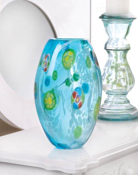 Blue Floral Glass VaseBlue Floral Glass Vase Blue Floral Glass Va | Vintage Gifts Unlimited