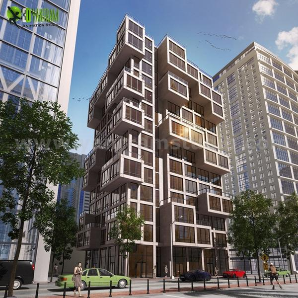High Rise Commercial Modern Elevation Design Ideas by Yantram architectural rendering studio Egypt