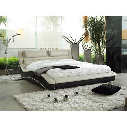King size Modern Cream Black Faux Leather Upholstered Platform Bed