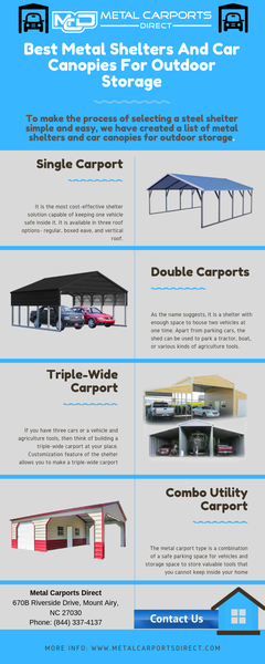 Metal Shelters And Car Canopies For Outdoor Storage