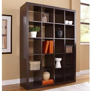 RB Spaces Bookcase 5 Shelf 20 Cubes Bookshelf Contemporary Design Modern Storage Book Display (Espresso)