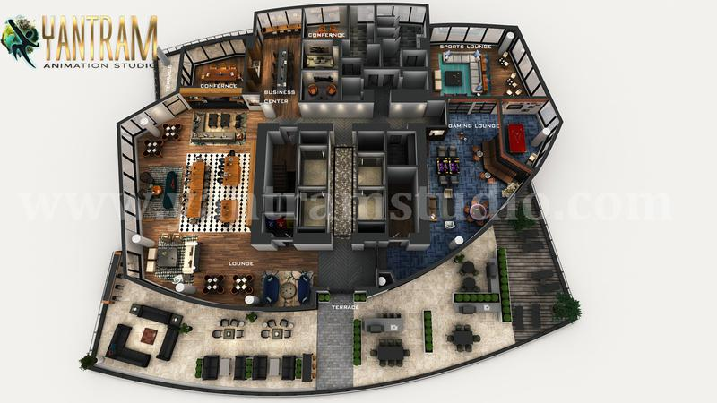3D Virtual Floor Plan of Apartment's Rooftop Design with Terrace ideas