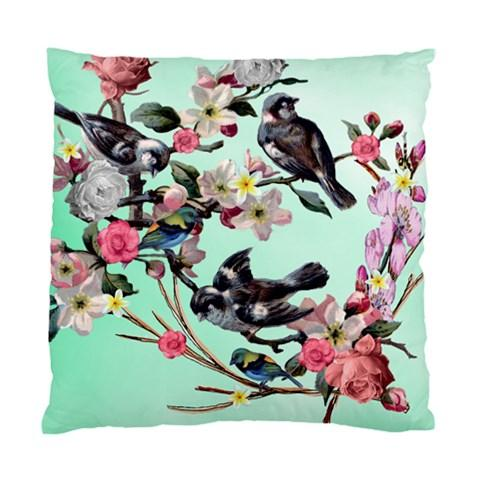 Vintage Birds AND Flowers ON Blue Green Background Cushion Cover | eBay