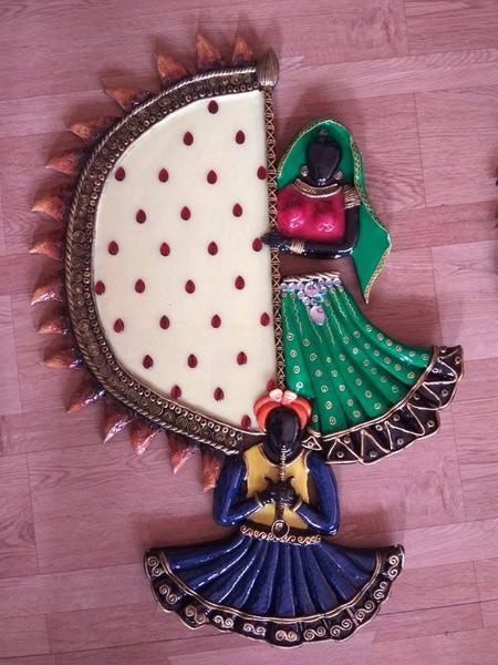 Rajasthani Couple - Wooden Mural Wall Art Decor
