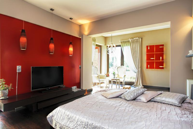 Led tv panels designs for living room and bedrooms for Chambre a coucher rouge et noir
