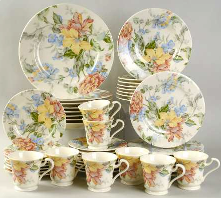 English Tapestry 48 Piece Set by Oscar De La Renta