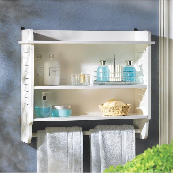 Bathroom White Wall Shelf For Storage