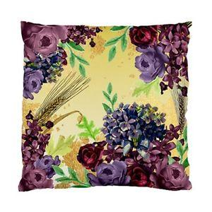Vintage Purple Flowers With Leaves AND Wheat ON Yellow Background Cushion Cover | eBay