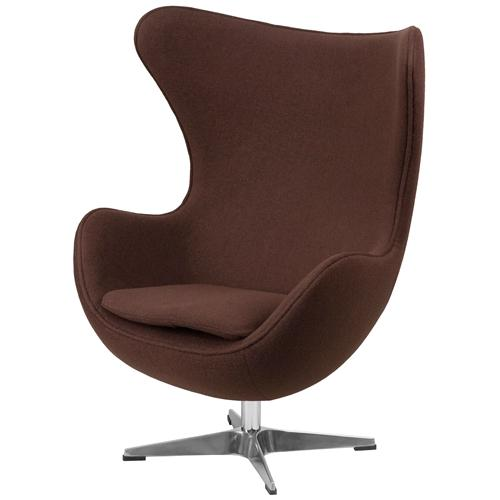 Brown Wool Fabric Upholstered Egg Shaped Modern Arm Chair