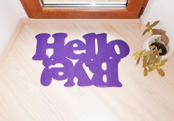 Doormat personalized mat / rug with double message Hello by Xatara
