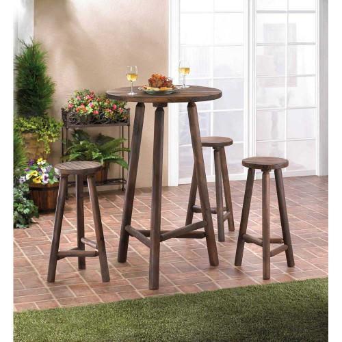 Fir Wood Bar Table And Stools Set