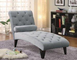 Coaster Chaise Lounge with Button Tufted Gray Velour Fabric in Black Finish - Chaise Lounge Bedroom