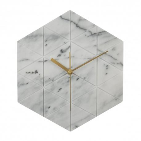Karlsson Hexagon Wall Clock in White Marble and Brass Handles