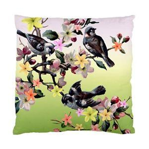 Vintage Birds AND Flowers ON Pink AND Green Background Cushion Cover | eBay