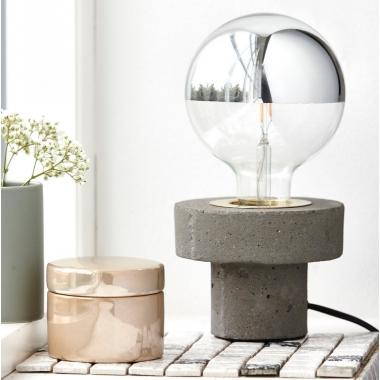 House Doctor Concrete and Brass Contemporary Table Lamp