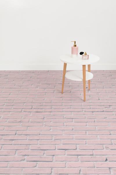 Bonbon - Pink Brick Effect Vinyl Flooring