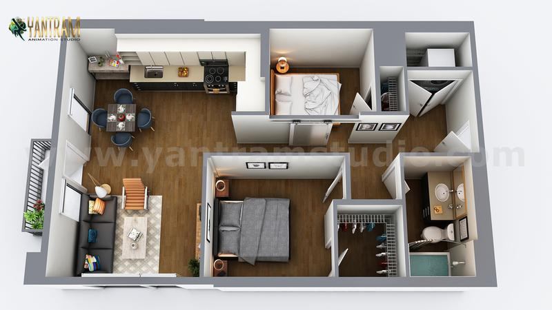 Two-Bedroom Residential House  3D Virtual Floor Plan Design by Architectural Rendering Companies, Vegas - USA