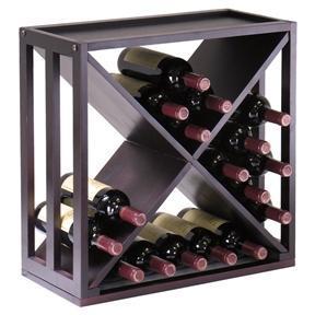 24-Bottle Modern Wine Rack Modular and Stackable in Espresso