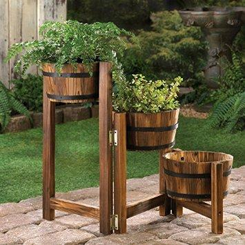 Rustic Three-Level Barrels Planter: Patio, Lawn & Garden