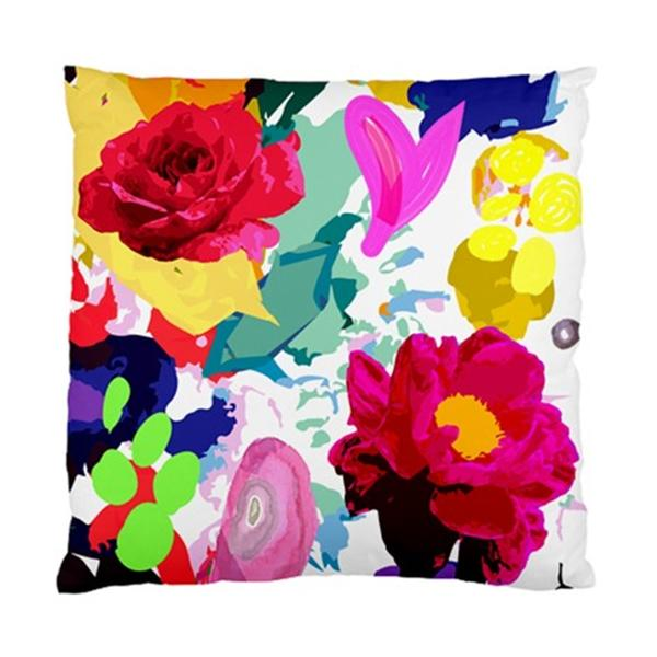 Flowers ON White AND Multicoloured Background Cushion Cover | eBay