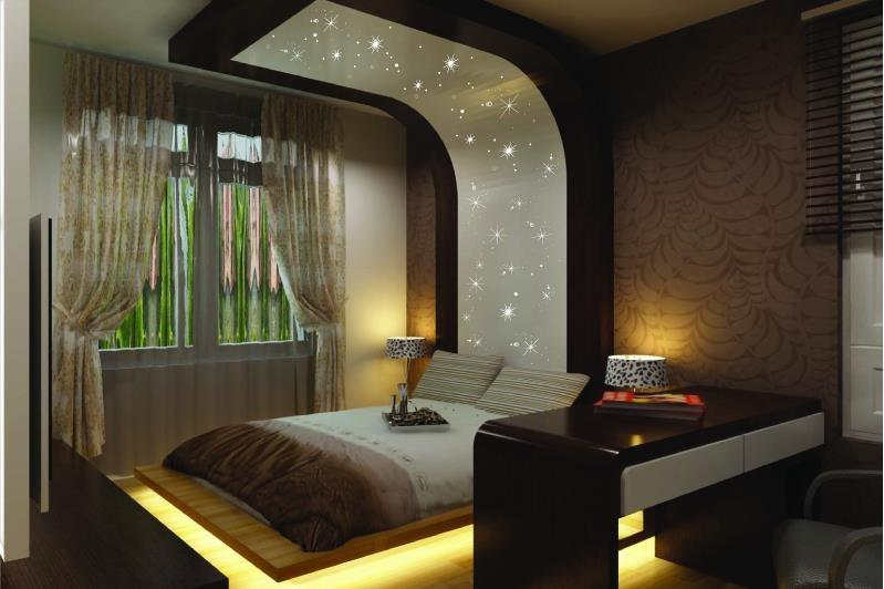 Romantic bedroom with dramatic headboard wallpaper and for Bed back wall design