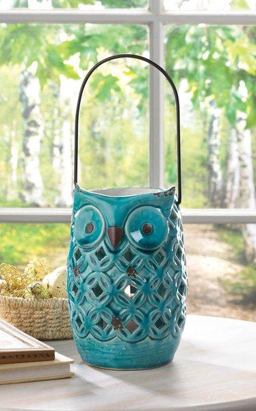 Blue Owl Lantern | Vintage Gifts Unlimited