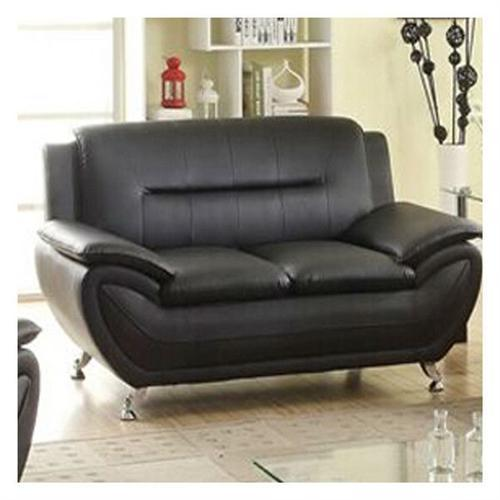 Stylish Living Room Modern Black Faux Leather Loveseat Medium Firm
