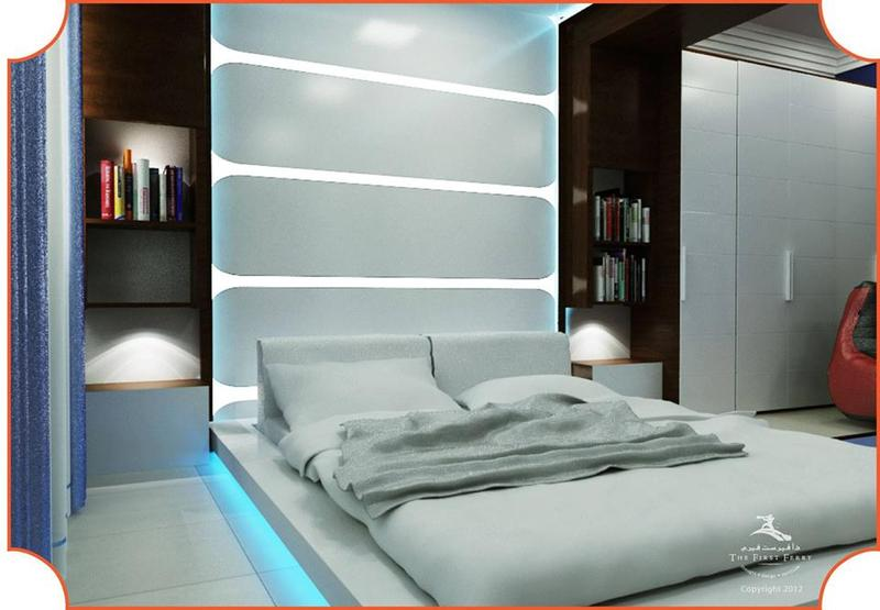 Luxurious bedroom design in blue for Bedroom designs mumbai