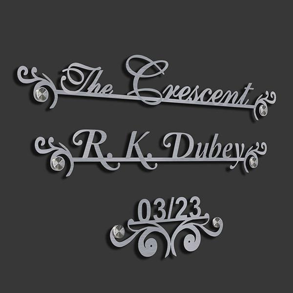 The Cresent SS+LC - Metal Name Plate Designs for Home and Offices Online in India