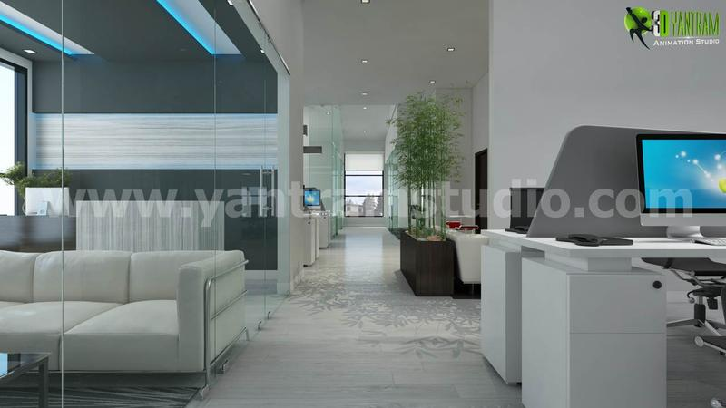 Office 3D Interior Rendering Beautiful Lobby Design Ideas Texas USA