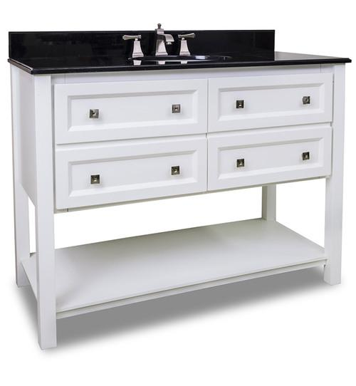 "Adler 48"" Sleek White Vanity Black Granite VAN066-48-T"